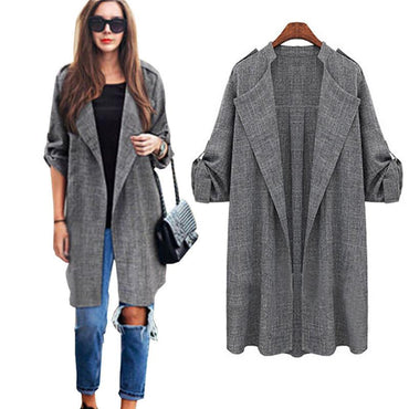 New Fashion Autumn Women Open Front Coat Long Cloak Jackets.