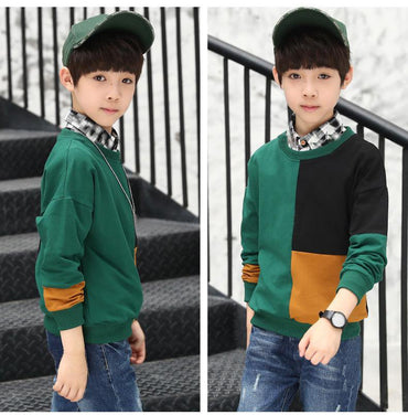 New Casual  Kids Children's Clothing, Boy Autumn Checked Knit Sweater T-shirt.