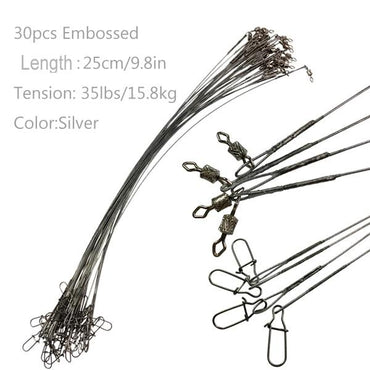 32lb 30Pcs 35lb Fishing Line Steel Wire Leader With Rolling Swivels Duo-Lock Snap Anti-bait Fishing Wire Leadcore Leash