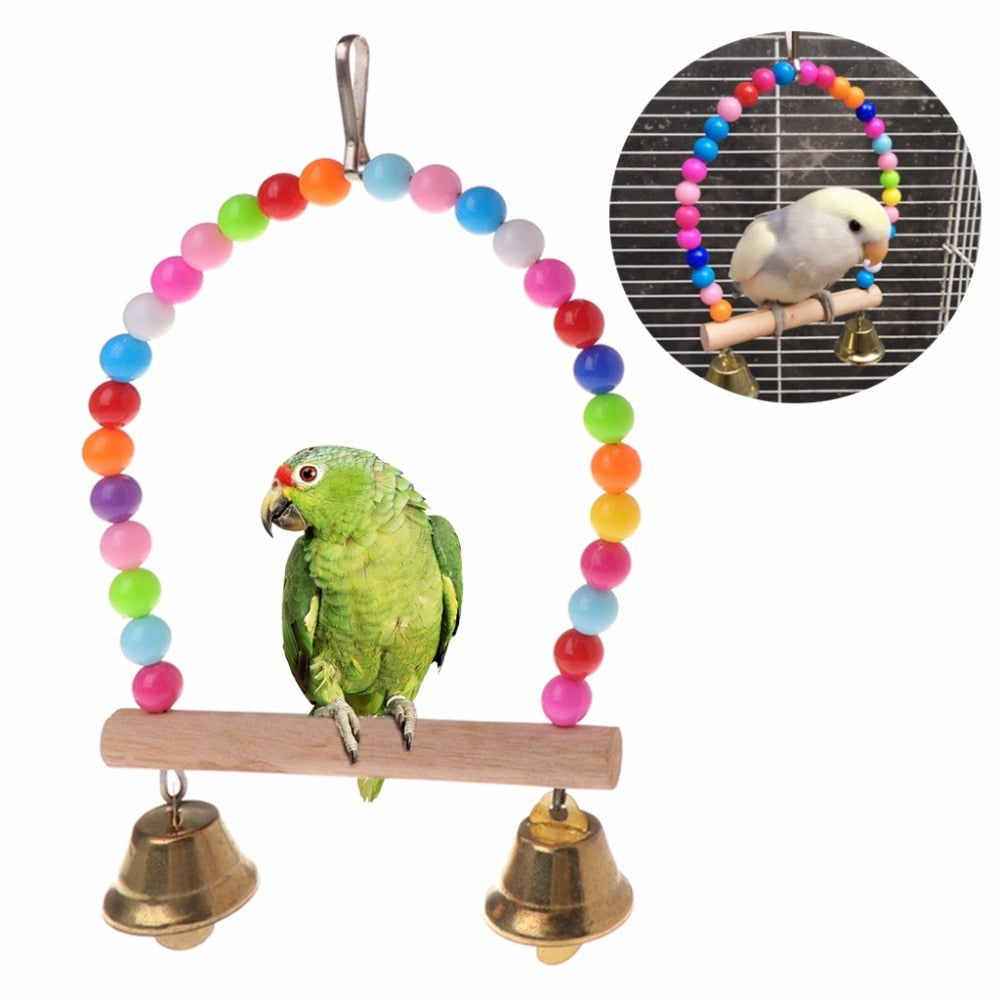 Natural Wooden Parrots Swing Toy Birds Perch Hanging Swings Cage With Colorful Beads Bells Toys