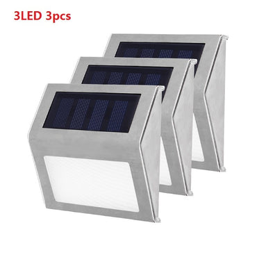1-4pcs Stainless Steel 3LED Solar Light Waterproof Outdoor Solar Power Garden Light Energy Saving Courtyard Pathway Wall Lamp