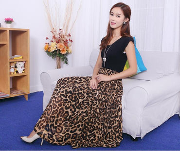 Women Long Leopard Elastic Waist Skirts Casual Maxi Beach Printed