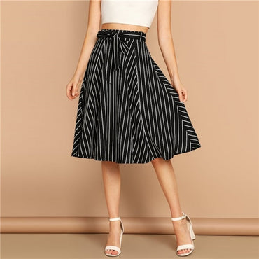 Black and White Elegant Women Casual High Waist Midi Skirts