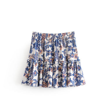 Summer Vintage Floral Print Ruffles Mini Skirt Women Fashion