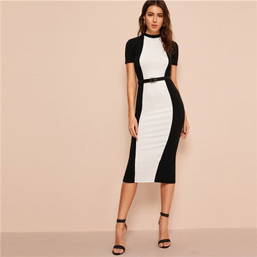 Black and White Pencil Midi Dress Without Belt Women Casual Long Sheath Dress