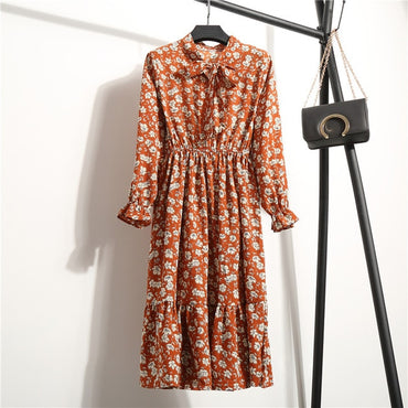 Women's Chiffon Stand Neck With Bow Floral Print Ruffles Vestido Long Sleeve Elegant Cute Dress