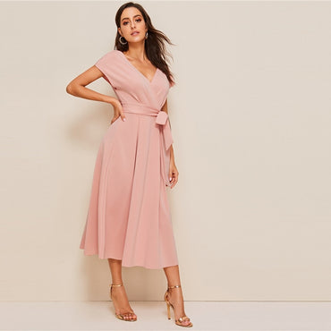 Elegant Women Summer Dress Pink Solid Deep V Neck High Waist Dress