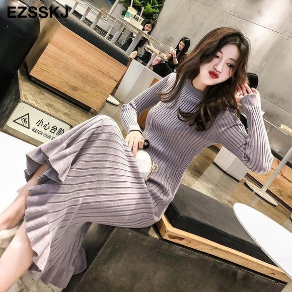 Women's Thick Mermaid  Maxi Sweater Dress