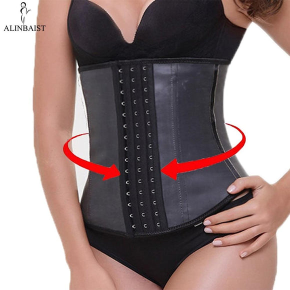 Women's Waist Trainer Latex Shapewear  -9 Steel Bone