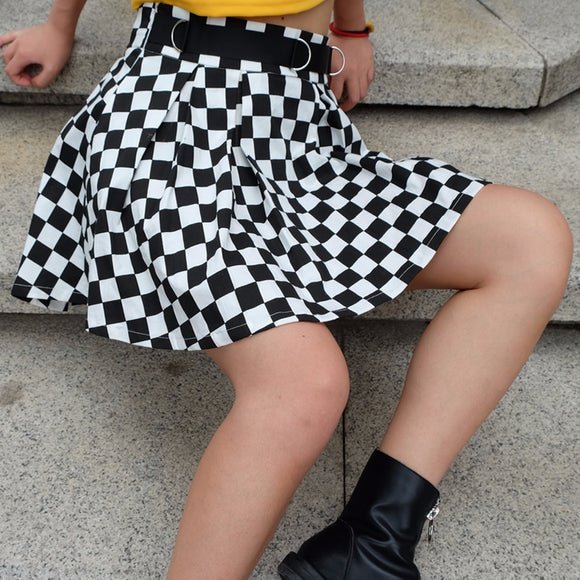 High Waisted Pleated Checkerboard Skirt
