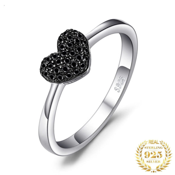 Women's Heart Natural Black Spinel  Ring