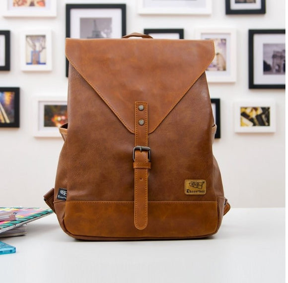 Women 's leather  travel backpack