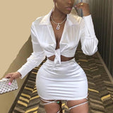 2 Piece Long Sleeve Bandage Crop Top And Skirt Set