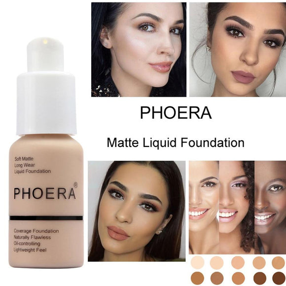 PHOERA Women's Soft Matte Full Coverage Liquid Foundation Skin Cream Care