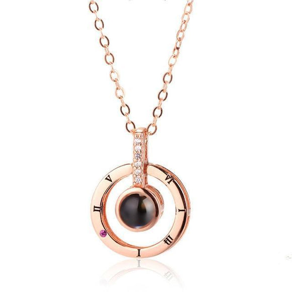 Girl Memory of Love Pendant Necklace  Stunning Silver or Rose Gold on Round Onyx  (18mm*13mm)