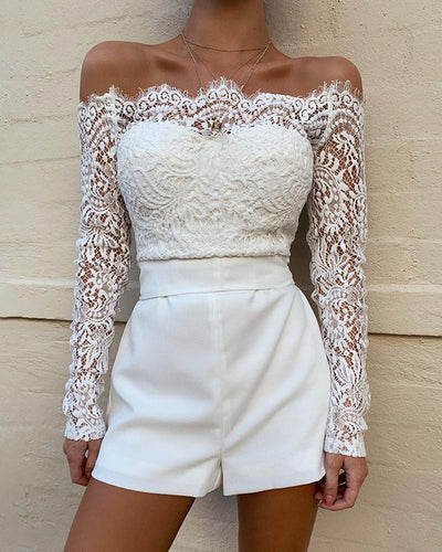 White Lace Off The Shoulder Romper - BeautyCoves