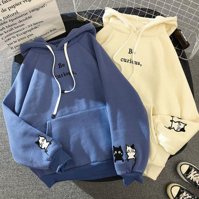 Be Curious Hoodie Hoodies & Sweatshirts Fashionnew Store Sky Blue S