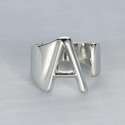 Silver Letter Ring - BeautyCoves