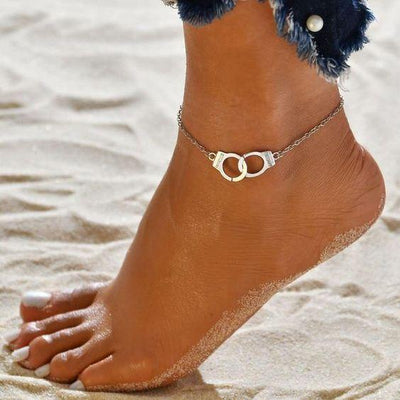 "Silver ""Freedom"" Handcuff Anklet - BeautyCoves"