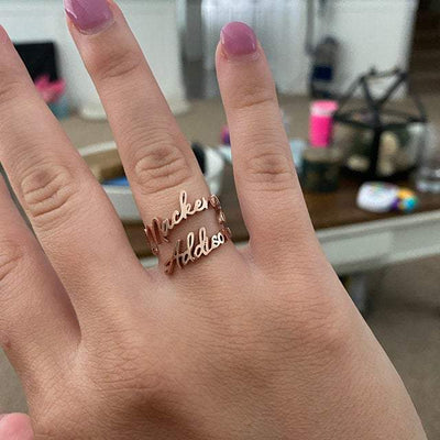 Double Name Custom Ring - BeautyCoves