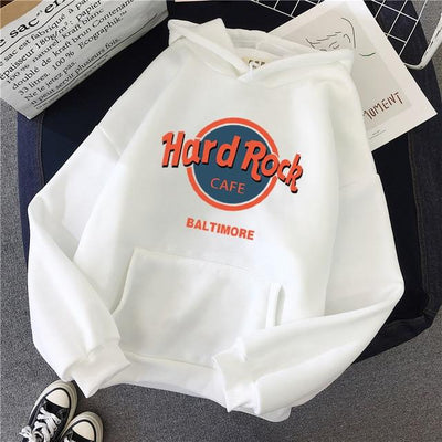 """Hard Rock Cafe"" Pullover Hoodie Hoodies & Sweatshirts JiuCheng_001 Store Snow White S"
