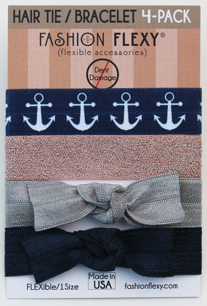ANCHOR: Hair Tie (Pony) Bracelet 4 Pack