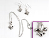 FLEUR DE LIS Silver: Earrings w/ Necklace Set