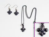 FLEUR DE LIS Black: Earrings w/ Necklace Set