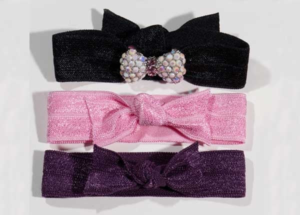 BOW Chalk White/Lt Rose Stone: Hair Tie (Pony)/Bracelet Sets