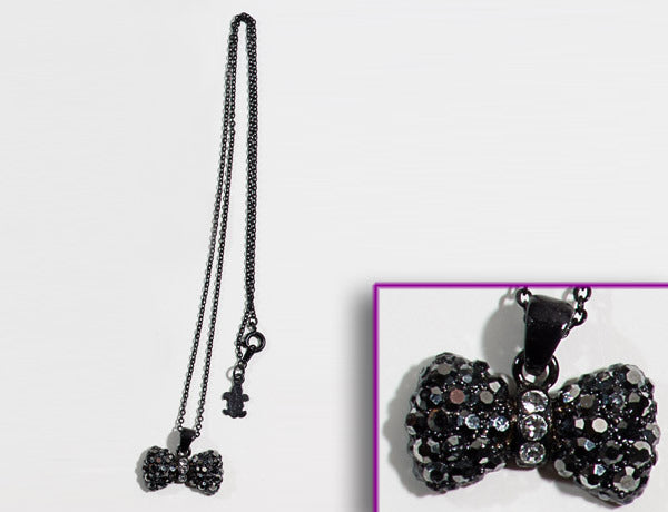 BOW Black-Jet Hematite/Clear Stone: Necklace