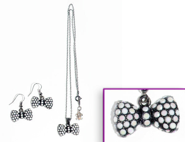 BOW Black-Chalk White Stone: Earrings w/ Necklace Set