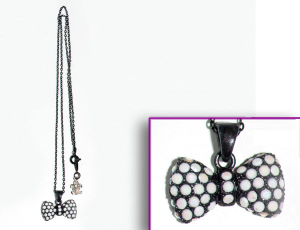 BOW Black-Chalk White Stone: Necklace