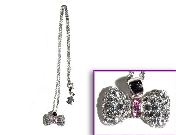 BOW Clear/Light Rose Stone: Necklace