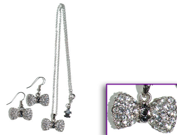 BOW Clear/Jet Hematite Stone: Earrings w/ Necklace Set