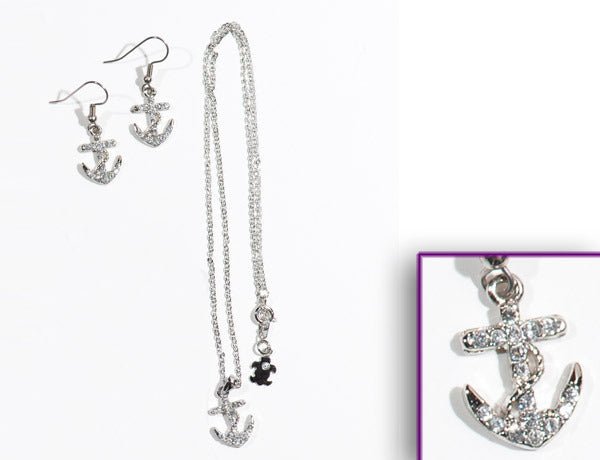 ANCHOR Clear Stone: Earrings w/ Necklace Set