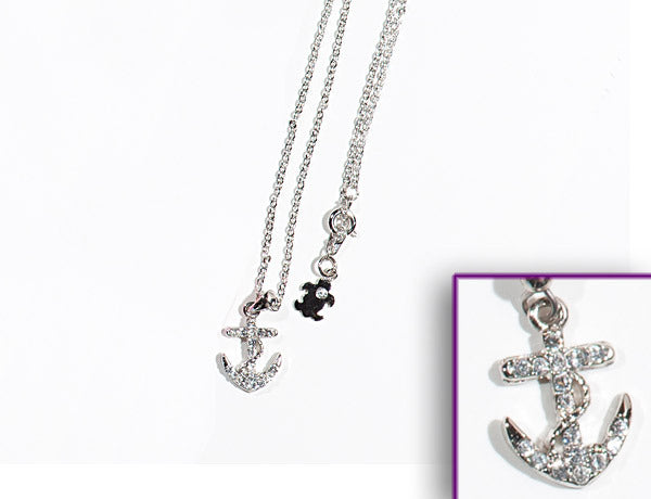 ANCHOR: Clear or Sapphire Stone: Necklace