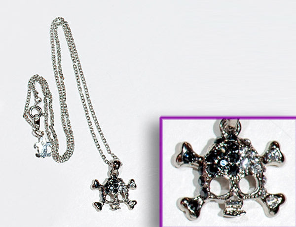 SKULL Phantom Jet/Clear Stone: Necklace