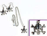 SKULL Phantom Jet/Clear Stone: Earrings w/ Necklace Set