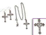 CROSS/HEART Clear Stone: Earrings w/ Necklace Set