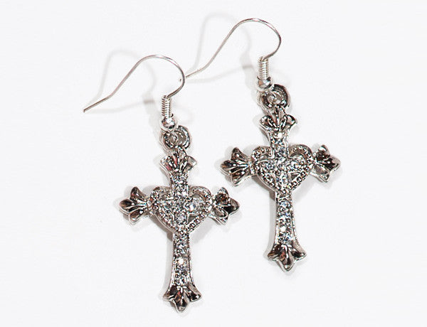 CROSS/HEART Clear Stone: Earrings