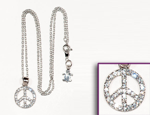 PEACE SIGN Clear Stone: Necklace