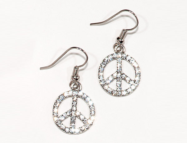 PEACE SIGN Clear Stone: Earrings