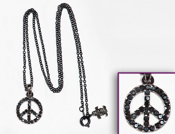 PEACE SIGN Jet Hematite Stone: Necklace