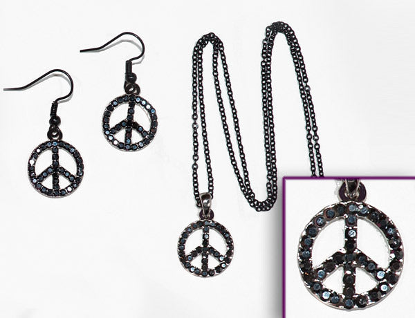 PEACE SIGN Jet Hematite Stone: Earrings w/ Necklace Set