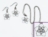 FLOWER White Hawaiian: Earrings w/ Necklace Set