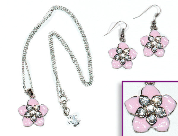 FLOWER Pink Hawaiian: Earrings w/ Necklace Set