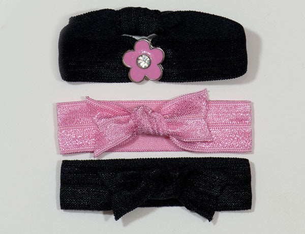 FLOWER: Pink Solid Charm Slider Hair Tie/Bracelet Set