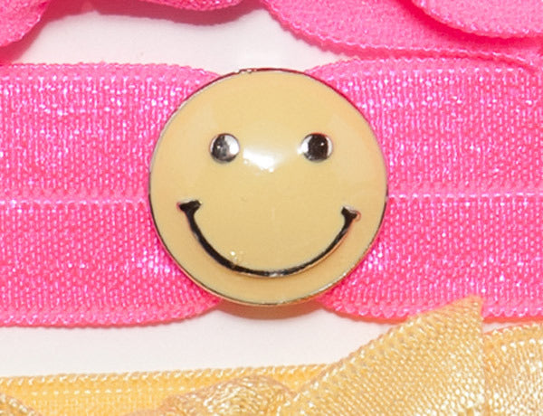 SMILEY FACE Yellow: Hair Tie w/ Headband 6-Packs