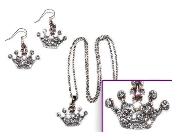 CROWN Clear or Light Rose Stone: Earrings w/ Necklace Set