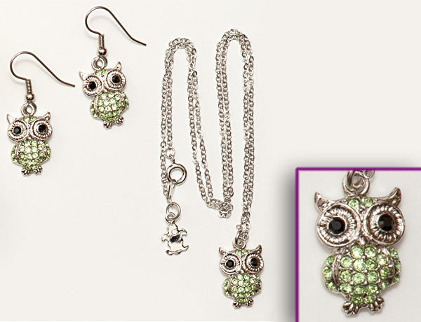 OWL Peridot Stone: Earrings w/ Necklace Set
